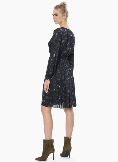 NetWork V Yaka Uzun Kollu Şifon Elbise  Siyah